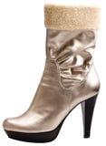 Stylish silver high fashion boot stock image