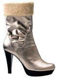 Stylish silver high heel fashion boot Stock Images