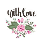 Stylish simple floral design with wedding, marriage, save the date, Valentine's day. Poster template - with love. Wedding, marriage, save the date, Valentine's stock illustration