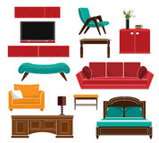 Stylish simple style furniture icons set: sofa, table, armchair, chair, cupboard, bed. Flat style. Royalty Free Stock Image