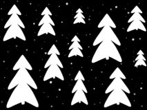 Stylish simple white christmas trees and snow on black backgroun stock photos