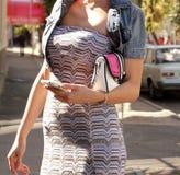 Stylish slim girl outside Royalty Free Stock Image