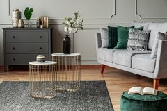 Free Stylish Small Coffee Tables With Marble Tops In Front Of Elegant Grey Couch With Emerald Pillows Royalty Free Stock Images - 161508839
