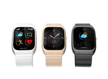 Stylish smart watches with different apps on white background Royalty Free Stock Photos
