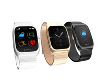 Stylish smart watches with different apps on white background Stock Image
