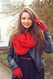 Stylish smiling girl. Outdoor portrait Royalty Free Stock Image