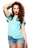 Stylish smiling woman girl in casual cloth with red lips Stock Photography