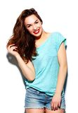 Stylish smiling woman girl in casual cloth with red lips Stock Image