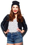 Stylish smiling woman girl in casual cloth with red lips Royalty Free Stock Photography