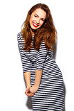 Stylish smiling woman girl in casual cloth with red lips Stock Images