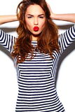 Stylish smiling woman girl in casual cloth with red lips Royalty Free Stock Image