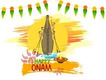 Stylish snake boat for Happy Onam celebration. Stock Photo