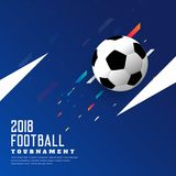 Stylish soccer game blue background with football. Illustration Royalty Free Illustration