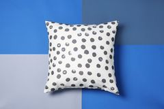 Stylish soft pillow. On color background royalty free stock photos