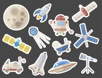 Stylish space ship constellation astrology radar cosmos universe technology meteor science shuttle astronaut rocket. Stylish space ship icons. Constellation Royalty Free Stock Photos