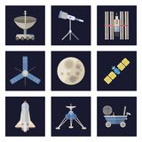 Stylish space ship constellation astrology radar cosmos universe technology meteor science shuttle astronaut rocket. Stylish space ship icons. Constellation Stock Photos