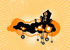 Stylish speakers. Vector. Stylish speakers floating on clouds. Vector art Royalty Free Stock Photos