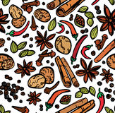 Stylish Spices Seamless Background Stock Image