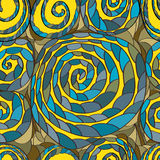 Stylish spiral draw seamless pattern Stock Photos
