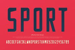 Stylish sport team alphabet letters and numbers. vector, sportive font type. Sans serif typeface design. retro, logo typesetting Royalty Free Stock Photography