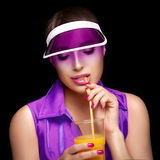 Stylish Sporty Woman Sipping a Glass of Juice. Beauty Dieting Royalty Free Stock Photos