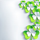 Stylish St. Patrick's day card with grey and green leaf clover Royalty Free Stock Photography
