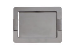 Stylish stainless steel tray with rounded corners Royalty Free Stock Photo