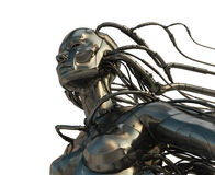 Stylish steel cyborg. 3d wired metal robot in profile isolated on white Royalty Free Stock Photos