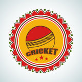 Stylish sticker for Cricket with ball. Royalty Free Stock Photography