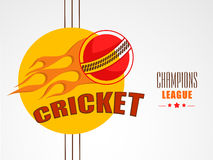 Stylish sticker for Cricket Champions League. Stylish sticker with ball in fire for Cricket Champions League on grey background Royalty Free Stock Photo