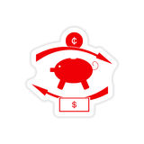 Stylish sticker on paper piggy bank and money Stock Images