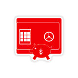 Stylish sticker on paper safe and piggy bank Stock Photos