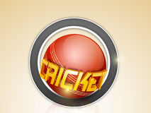 Stylish sticker with red ball and 3D text for Cricket. Stylish sticker or label design with shiny 3D golden text Cricket and red ball on brown background Stock Images