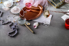 Stylish still life with rose water Stock Photography