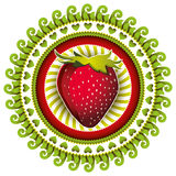 Stylish strawberry label. Stock Photo