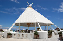 Stylish structure of the beach bar at territory of the Turkish h Stock Image