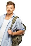 Stylish student with backpack Stock Images