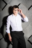 Stylish successful handsome young businessman Stock Photos