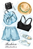 Stylish summer clothing set with hat, shorts, crop top, shoes, backpack and photo camera. Fashion clothes. Sketch. Vector illustration stock illustration