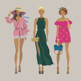 Stylish summer girls.Fashion models. Royalty Free Stock Images