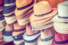 Stylish Summer Hats Royalty Free Stock Images