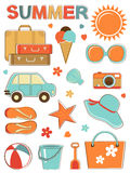 Stylish summer icons set Stock Photos
