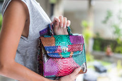 Stylish summer woman holding luxury snakeskin python handbag. Beautiful colors. Woman hands with bag. Royalty Free Stock Photos