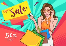 Free Stylish Surprise Woman With Shopping Bags Royalty Free Stock Image - 143831956