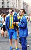 Stylish sweden fans Royalty Free Stock Photo