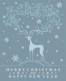 Stylish symbol of deer on winter background. Stock Photography