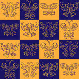 Stylish symmetrical seamless pattern with different butterflies. Stylish symmetrical seamless pattern with a different butterflies Royalty Free Stock Photo