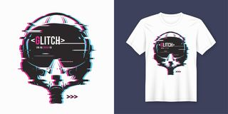 Stylish t-shirt and apparel trendy design with glitchy flight he. Lmet, typography, print, vector illustration. Global swatches Stock Photo