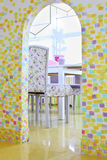 Stylish table and doorway in kids room Stock Image