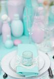 Stylish table set for wedding reception Royalty Free Stock Image